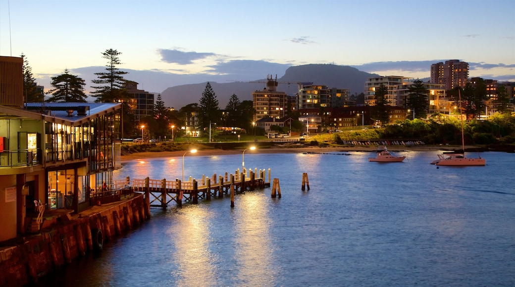 Wollongong showing a sandy beach, boating and a city
