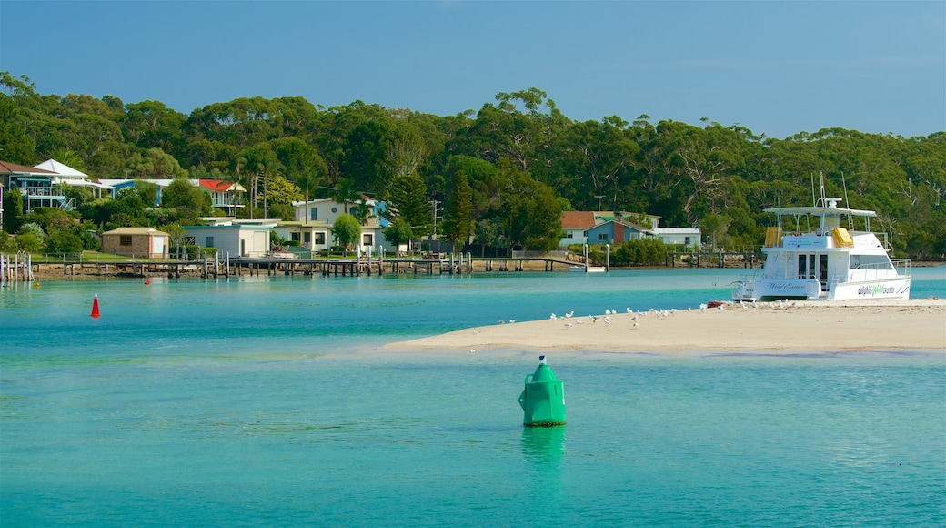 Huskisson showing boating and a beach