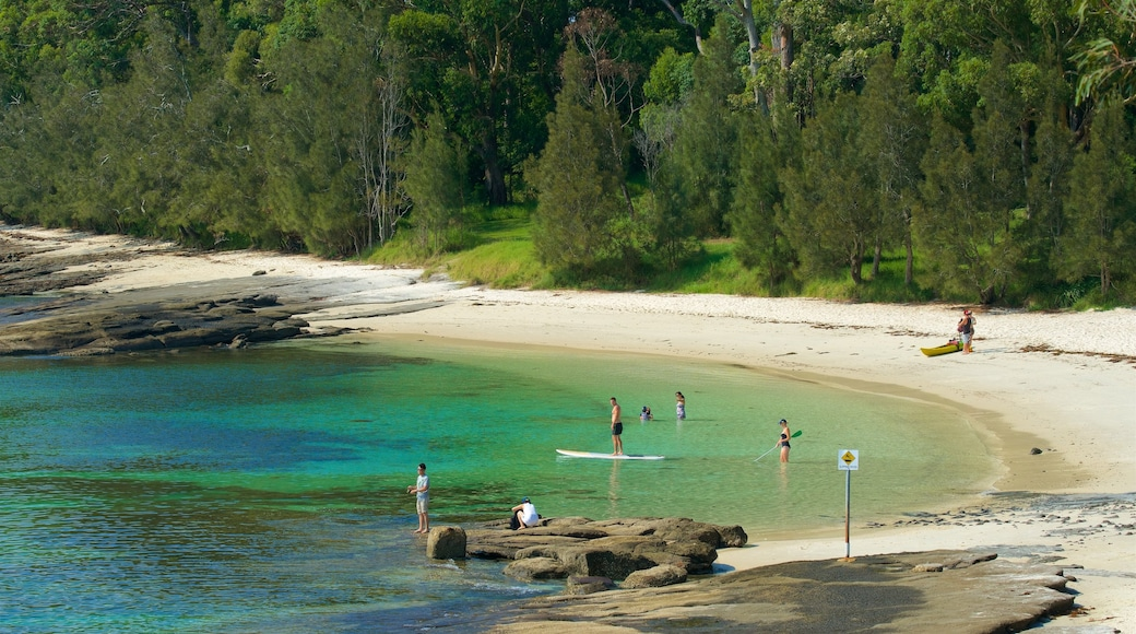 Huskisson featuring a sandy beach and general coastal views as well as a small group of people