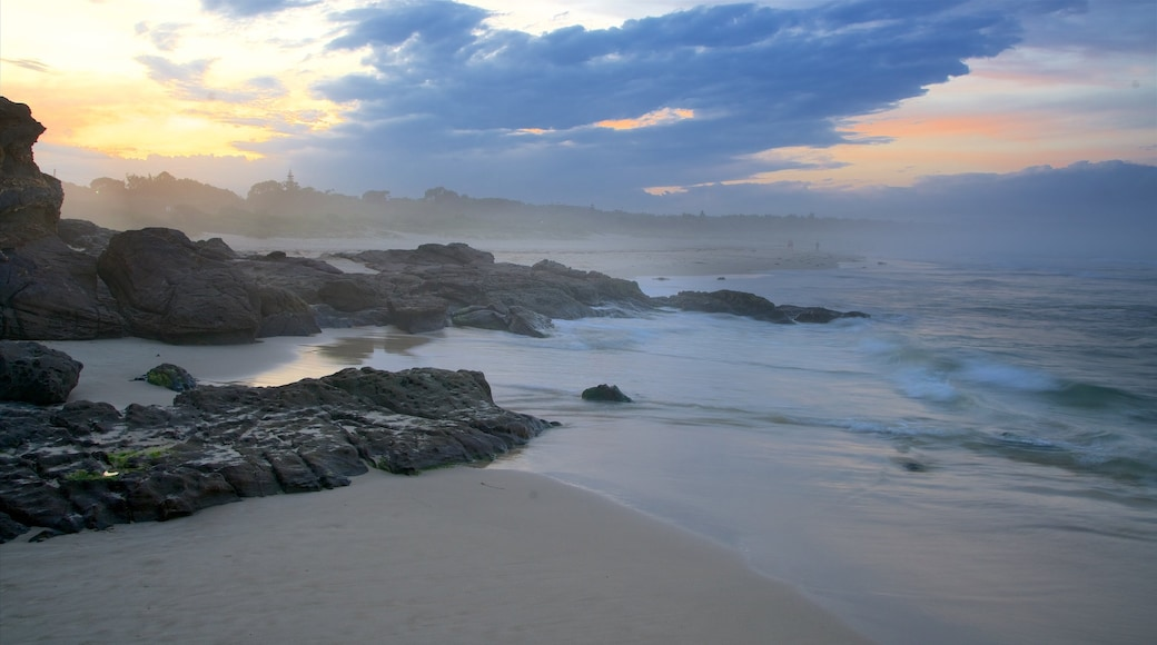 Pambula Beach which includes a beach and a sunset