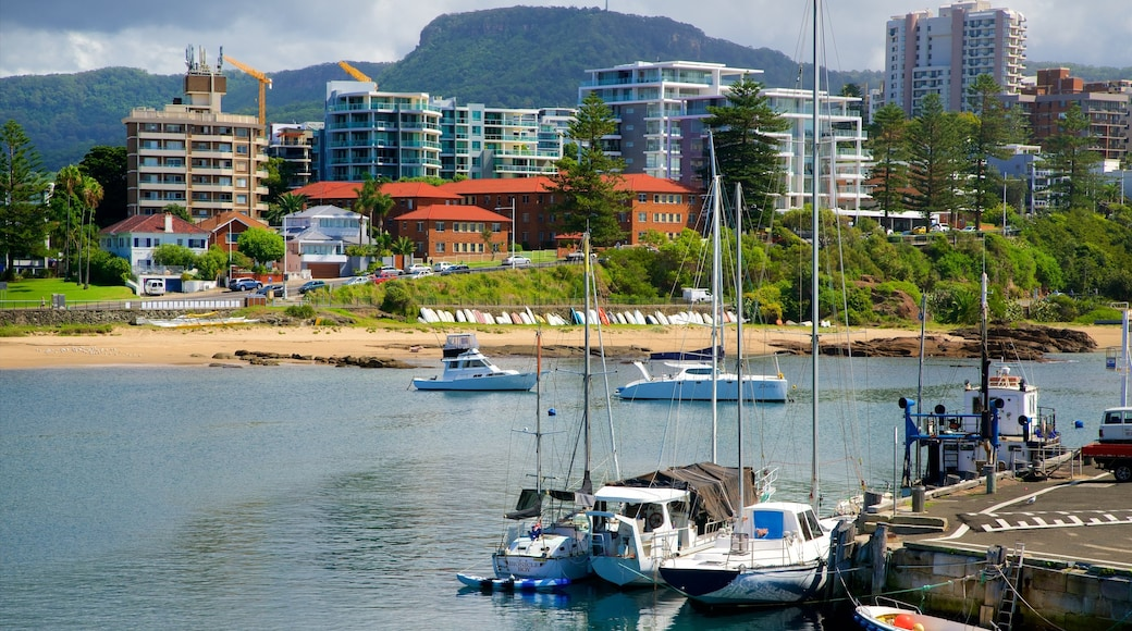 Wollongong which includes a bay or harbour, a marina and a coastal town