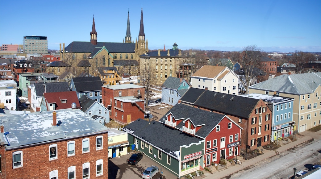 Charlottetown showing a church or cathedral and a city