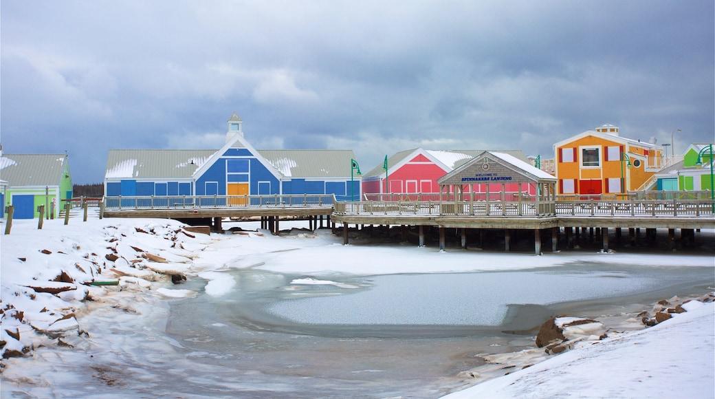 Port de Summerside montrant baie ou port et neige