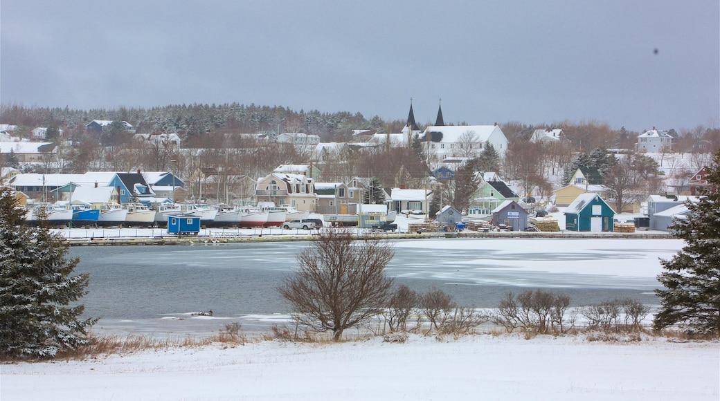 North Rustico qui includes neige, petite ville ou village et lac ou étang