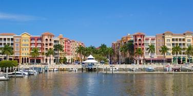 South Florida showing a coastal town, a marina and a bay or harbor