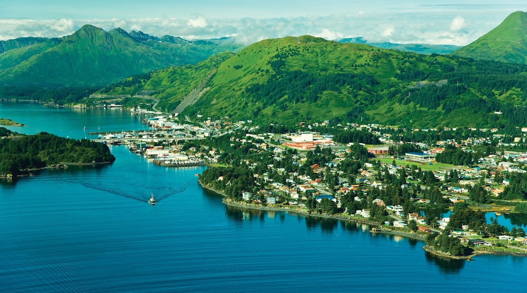 Kodiak Island showing a river or creek and mountains