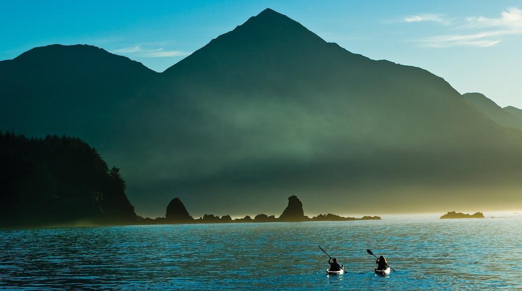 Kodiak Island featuring mountains, mist or fog and kayaking or canoeing