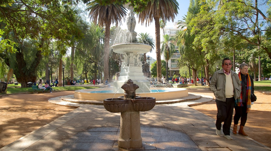 Salta showing a garden and a fountain as well as a couple