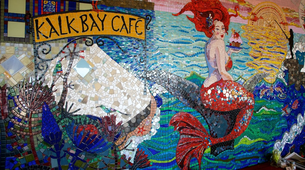 Kalk Bay showing outdoor art, signage and cafe lifestyle