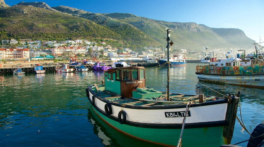 Kalk Bay showing boating, a coastal town and a bay or harbor