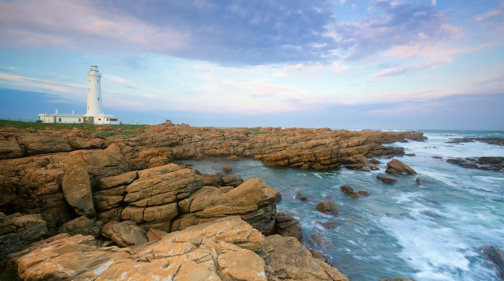 Seal Point Lighthouse which includes rugged coastline, a lighthouse and general coastal views