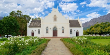 Franschhoek which includes a church or cathedral, heritage architecture and flowers