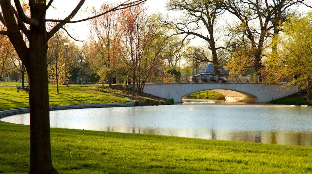 Forest Park which includes a pond, a garden and a bridge