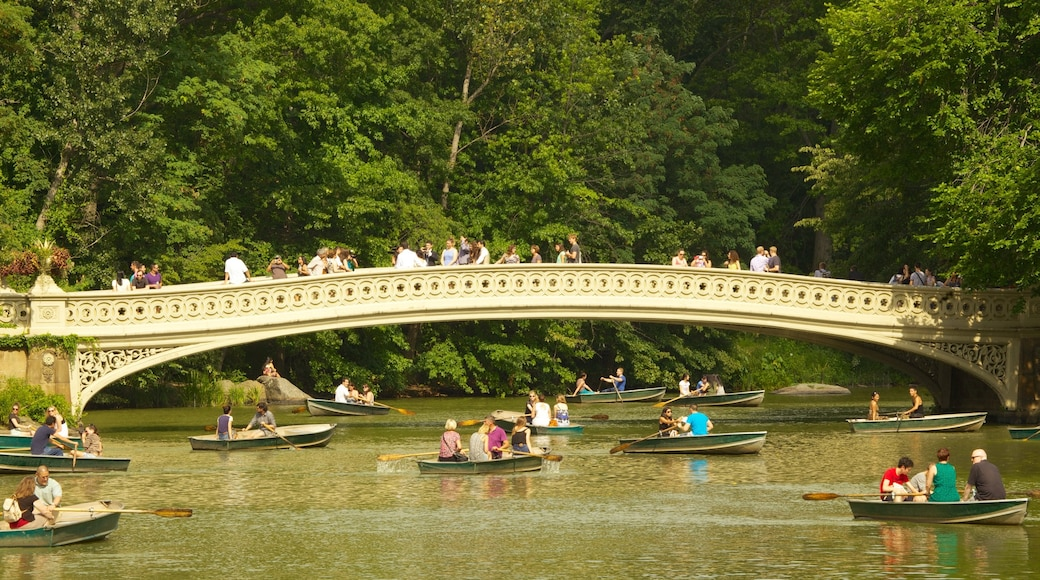 Central Park showing a garden, a bridge and kayaking or canoeing