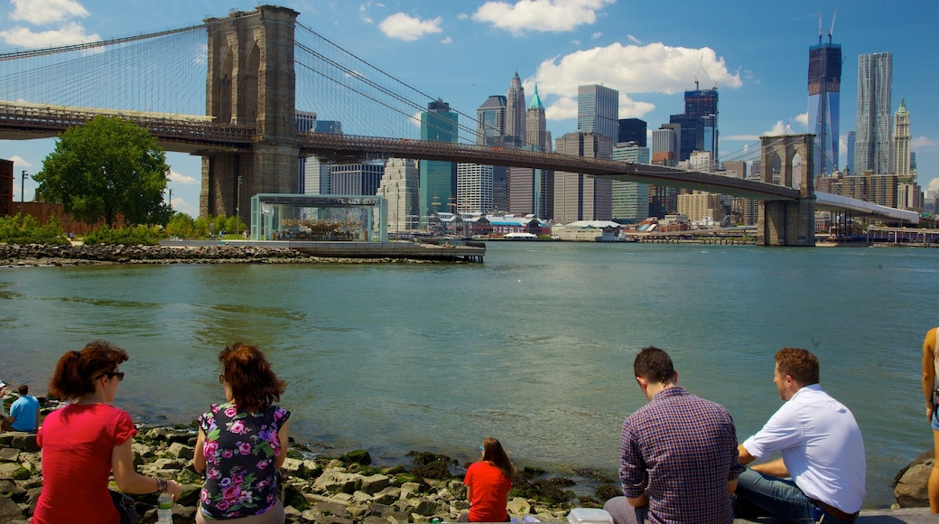Brooklyn which includes a bridge, a bay or harbor and heritage architecture