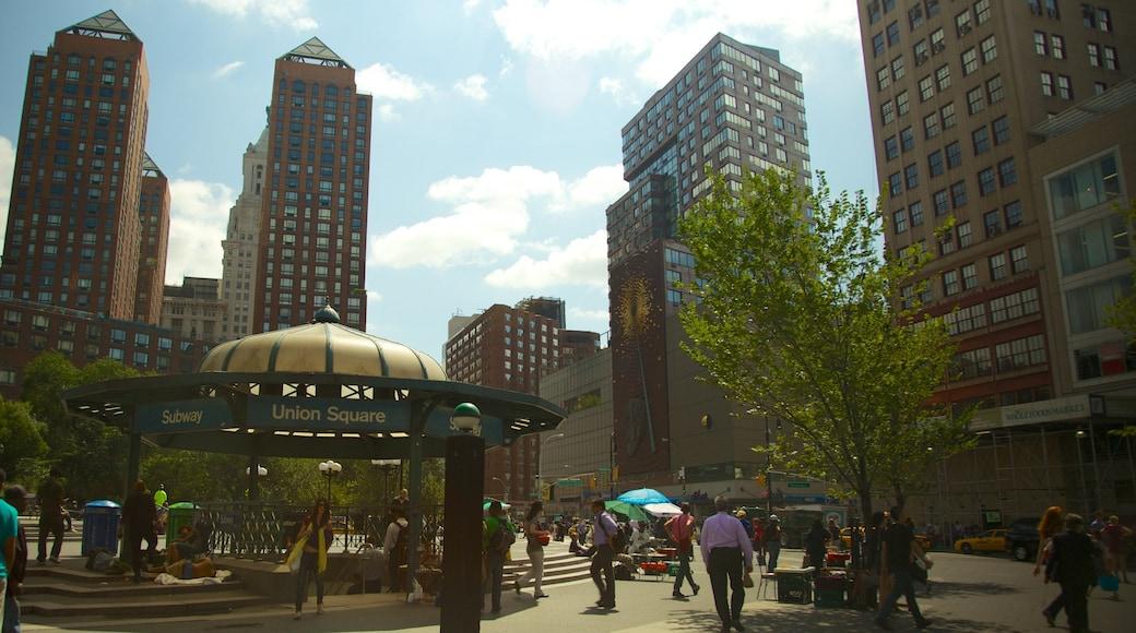聯合廣場 其中包括 城市, 高樓大廈 和 廣場
