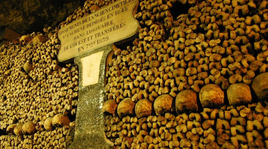 Catacombes de Paris mettant en vedette cimetière, vues intérieures et signalisation