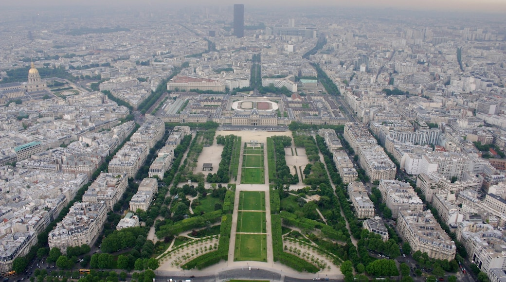 Eiffel Tower showing a park and a city