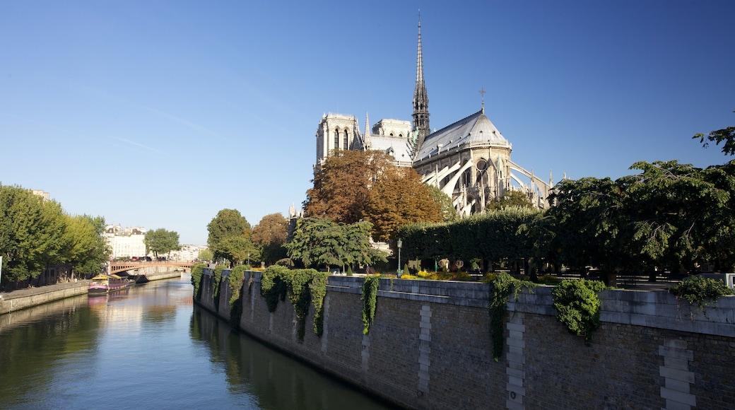 Cattedrale di Notre Dame mostrando elementi religiosi, chiesa o cattedrale e fiume o ruscello