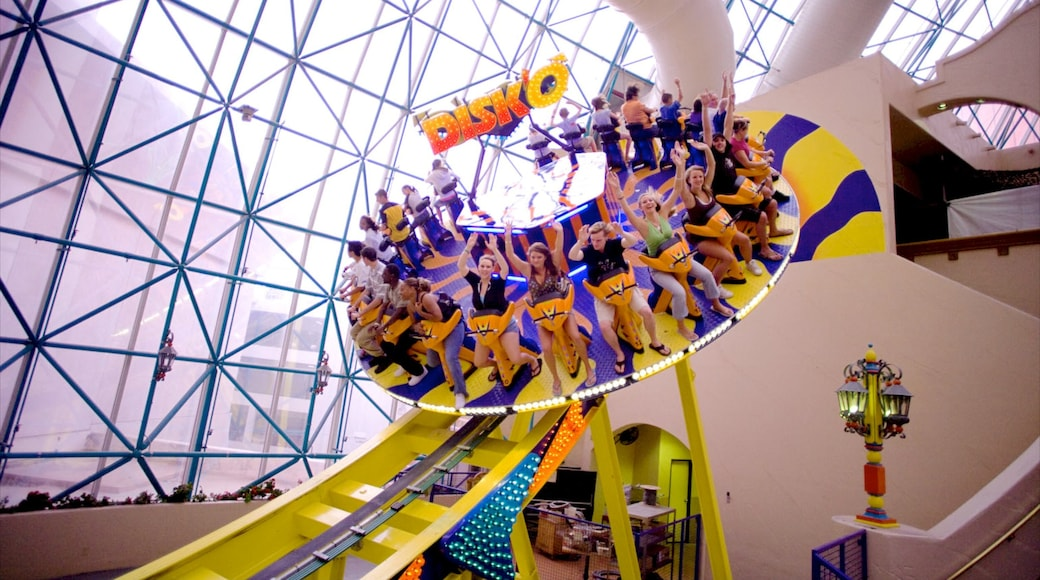 Adventuredome Theme Park featuring rides and interior views as well as a large group of people