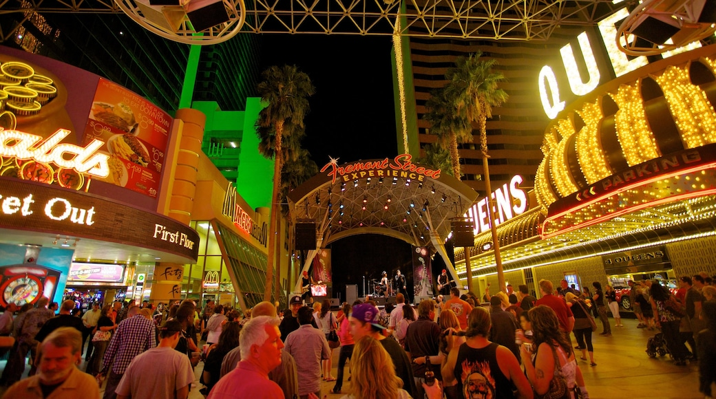 Fremont Street Experience featuring night scenes, a city and street scenes