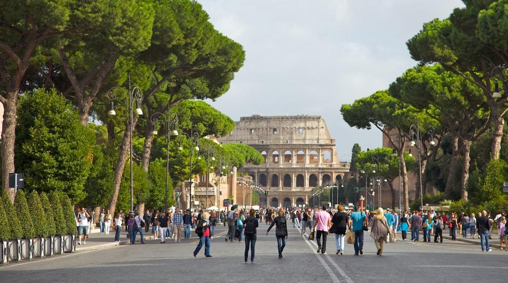 Colosseo som inkluderer ruiner, gatescener og monument