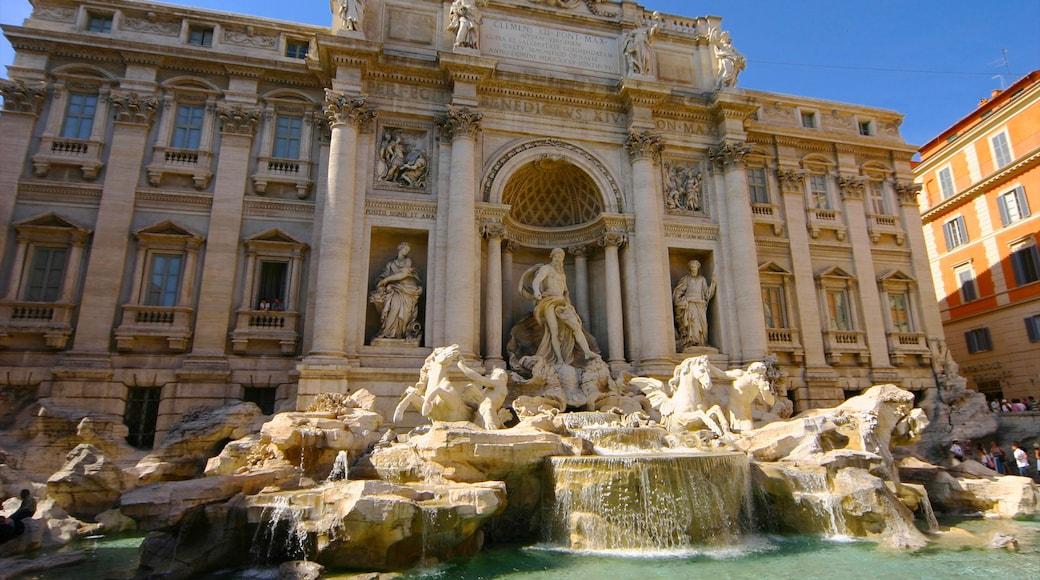 Fontaine de Trevi montrant patrimoine architectural, patrimoine historique et fontaine