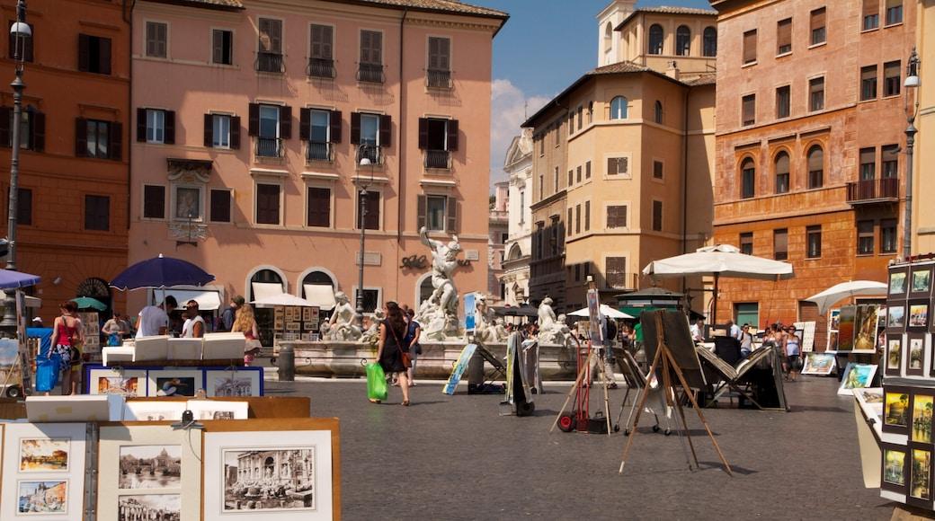 Piazza Navona mostrando piazza, città e strade