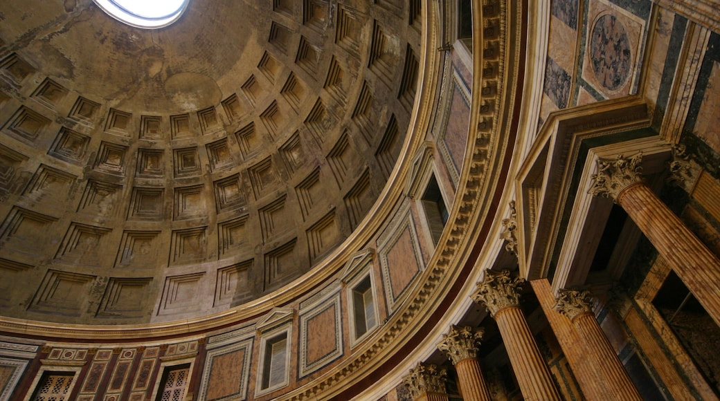 Pantheon showing a city, interior views and heritage architecture