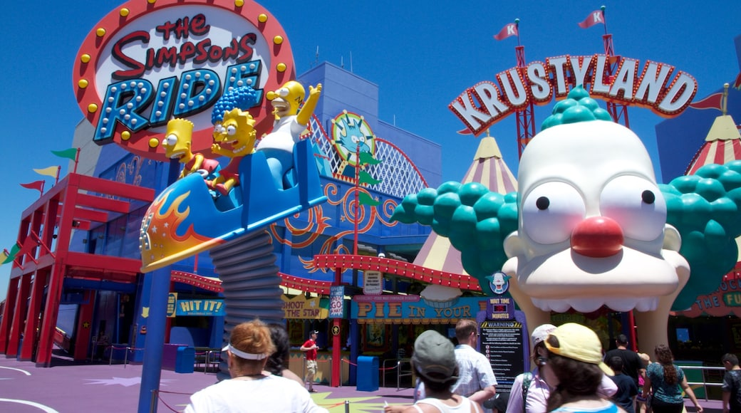 Universal Studios which includes rides, signage and a city