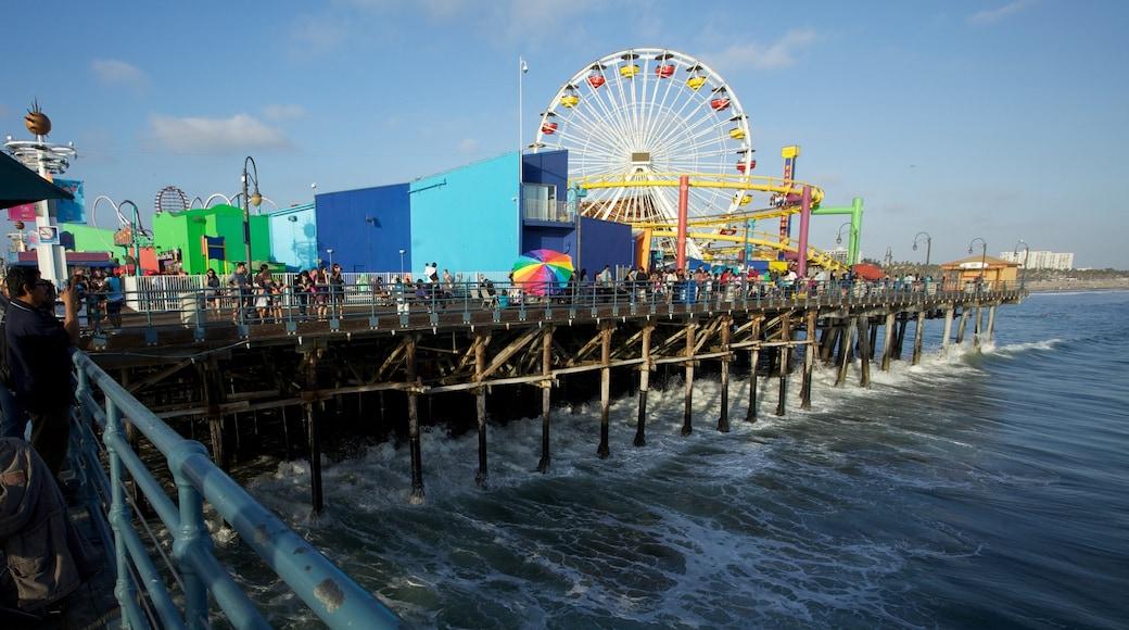Santa Monica Pier which includes rides