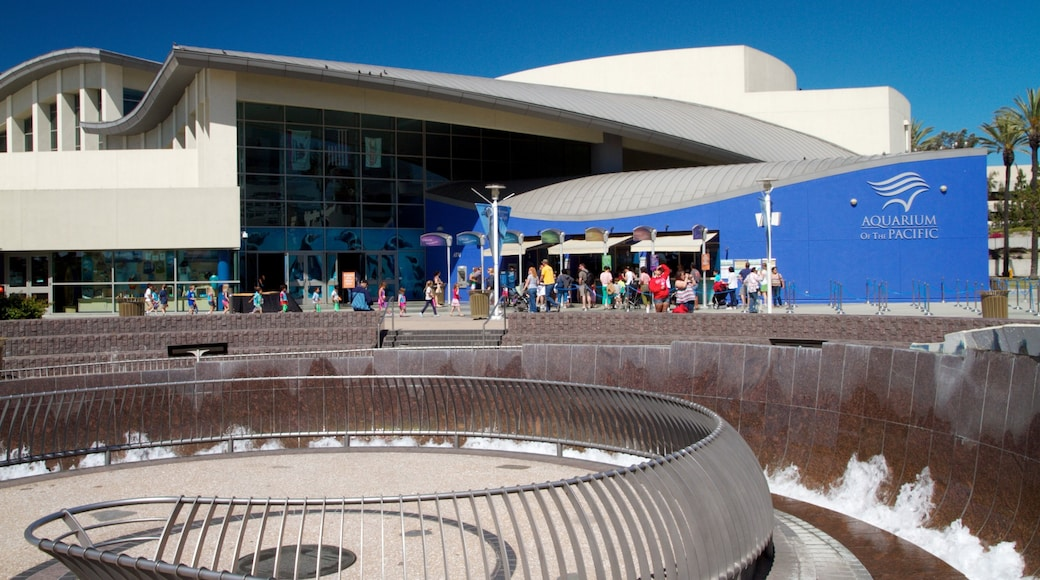 Aquarium of the Pacific showing a city and marine life