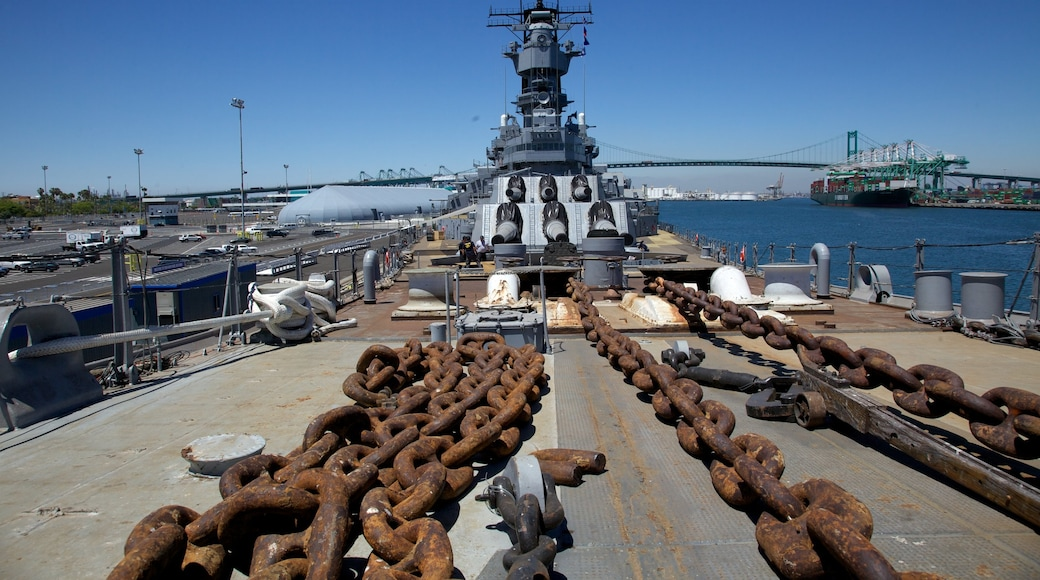USS Iowa which includes a bay or harbour, a marina and industrial elements