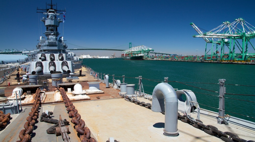 USS Iowa which includes military items, skyline and a marina