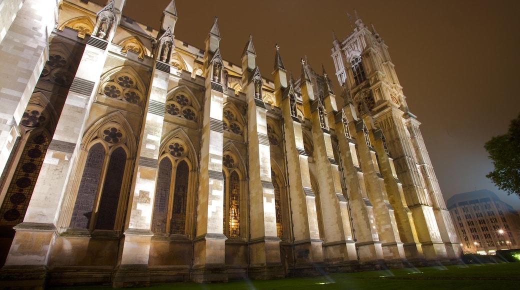 Westminster Abbey toont een kerk of kathedraal, historische architectuur en nachtleven