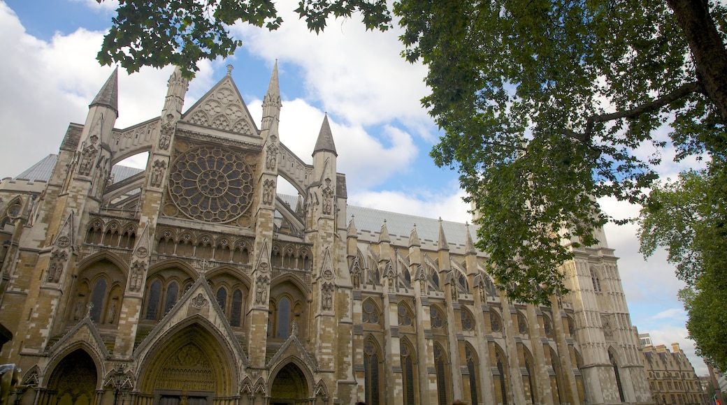 Westminster Abbey toont een stad, historische architectuur en religieuze aspecten