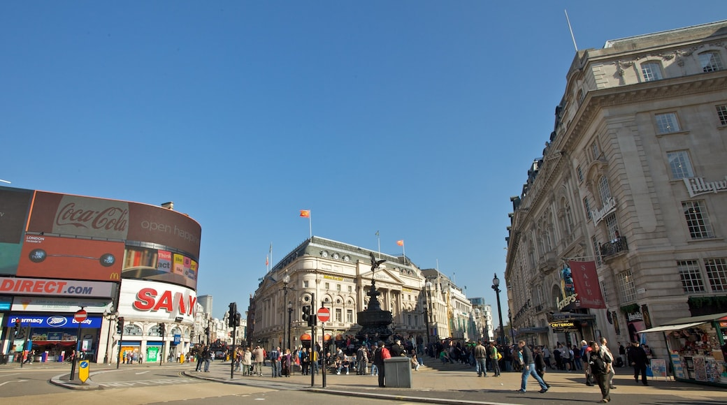 Piccadilly Circus which includes a city