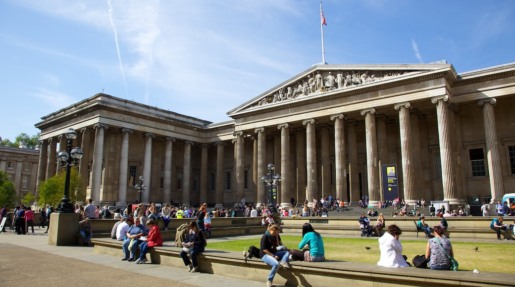 The British Museum which includes heritage architecture, a square or plaza and a city