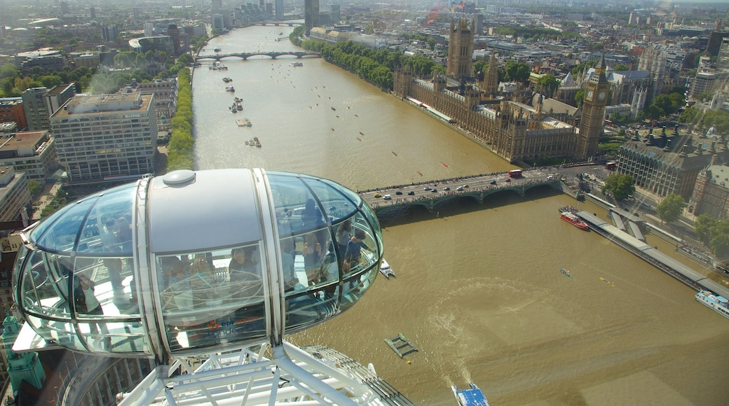 London Eye featuring views, a gondola and a river or creek