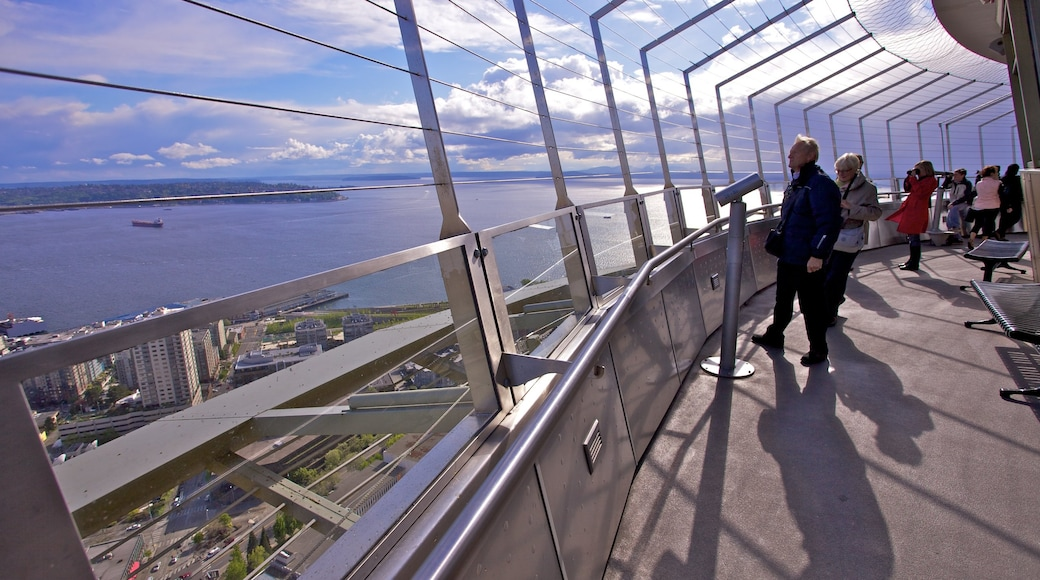 Space Needle showing views, general coastal views and a skyscraper