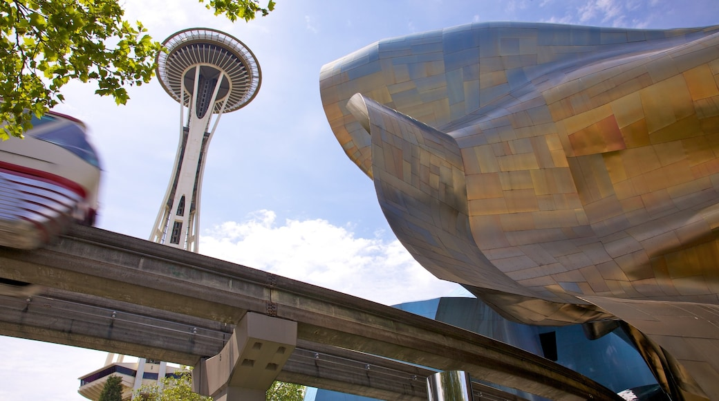 Space Needle which includes railway items, central business district and modern architecture