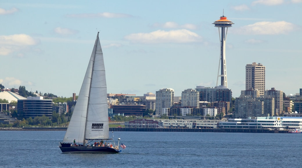 Alki Beach showing sailing, a bay or harbour and a city