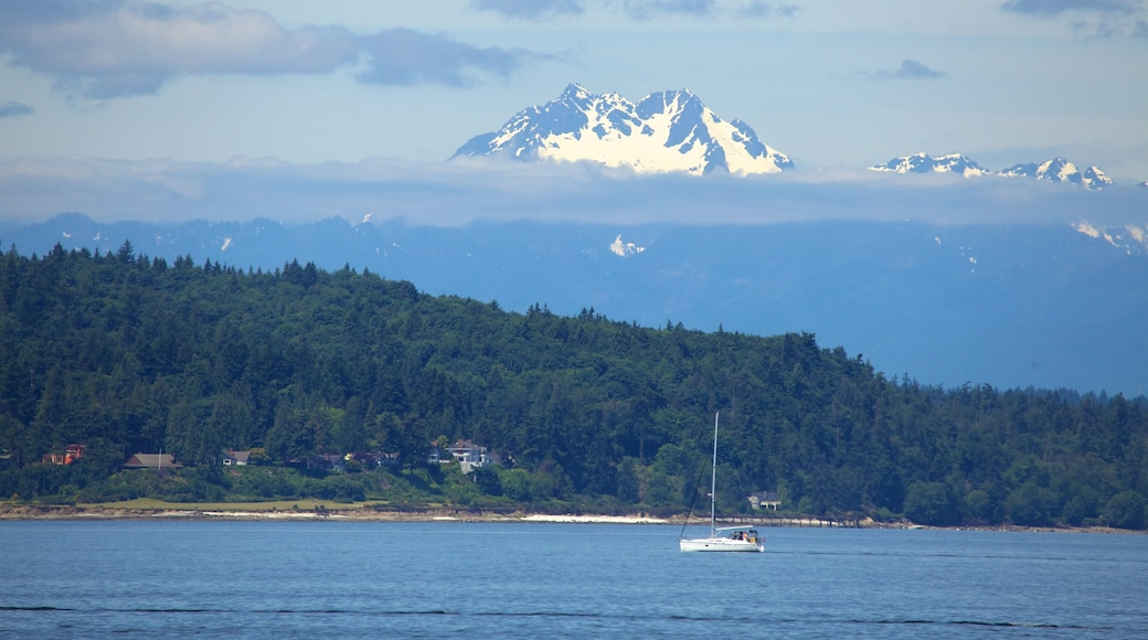 Alki Beach which includes boating, landscape views and mist or fog