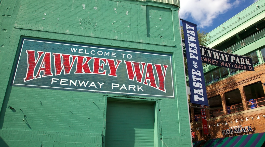 Fenway Park showing signage and a city
