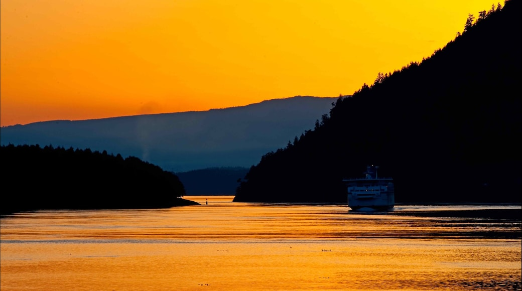 Mayne Island which includes cruising and a sunset
