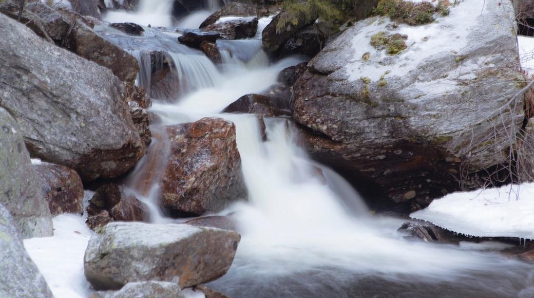 Rjukan das einen Schnee und Fluss oder Bach