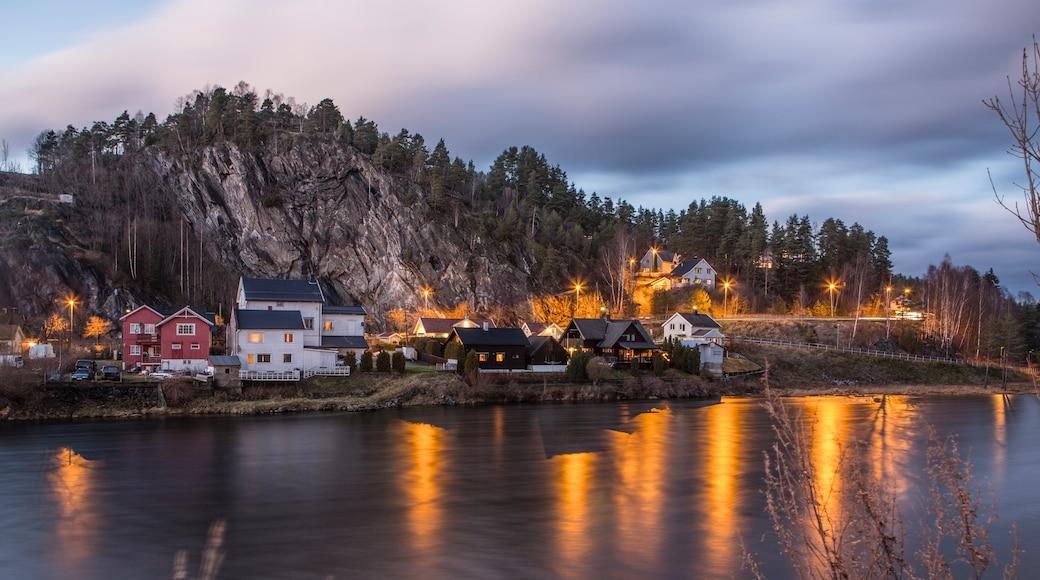 Notodden som viser innsjø og liten by eller landsby