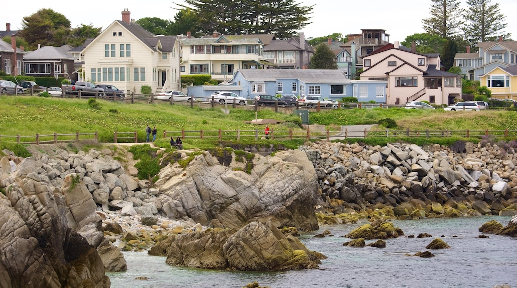 Pacific Grove which includes a coastal town and rugged coastline