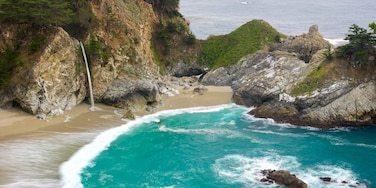 McWay Falls which includes a beach, a bay or harbor and rocky coastline