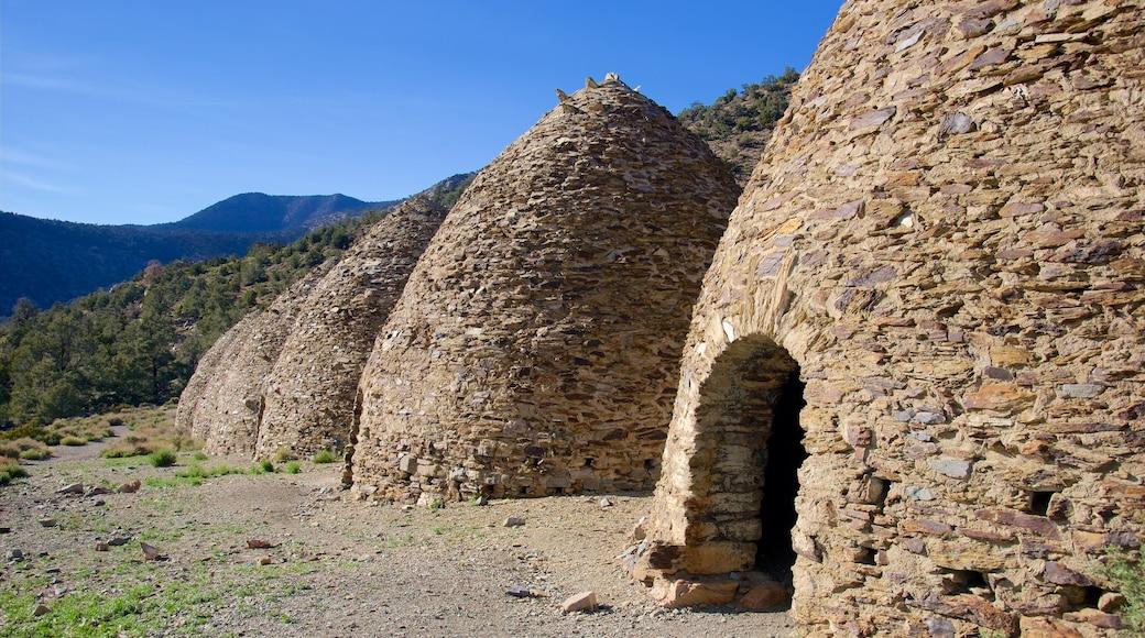 Death Valley som inkluderar stillsam natur och historisk arkitektur